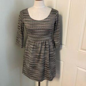 Tan taupe knit sheath tweed dress